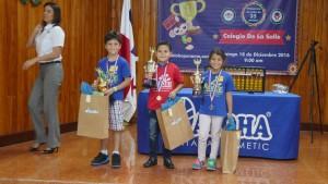 Campeones de categoría Kids de 8 a 9 Primero: Johan Bedoya Segundo: Ilio Viñas Tercero: Victoria Duarte
