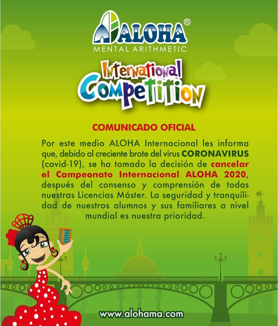 Comunicación sobre Campeonato Internacional ALOHA 2020